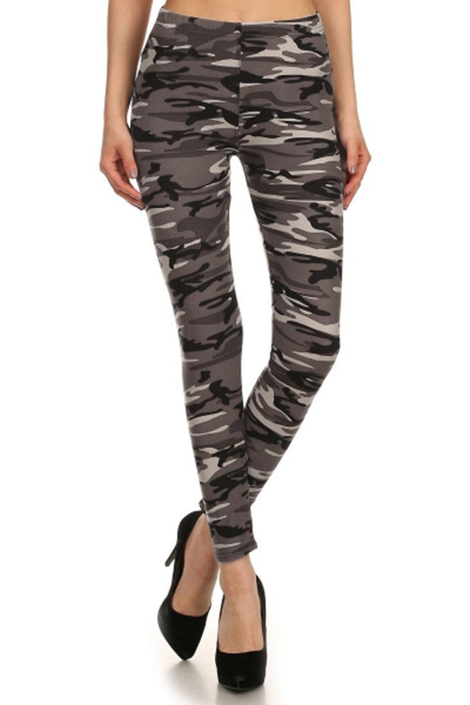 Camo Graphic Print Lined Leggings - Niobe Clothing - 1