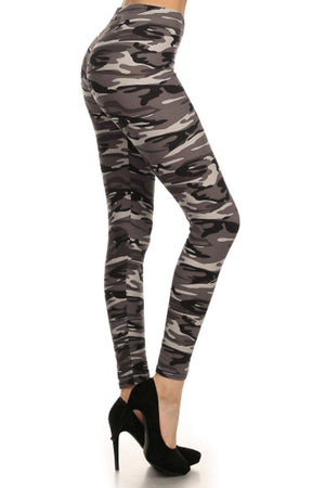 Camo Graphic Print Lined Leggings leggings- Niobe Clothing