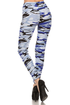 Blue Camo Design Leggings leggings- Niobe Clothing