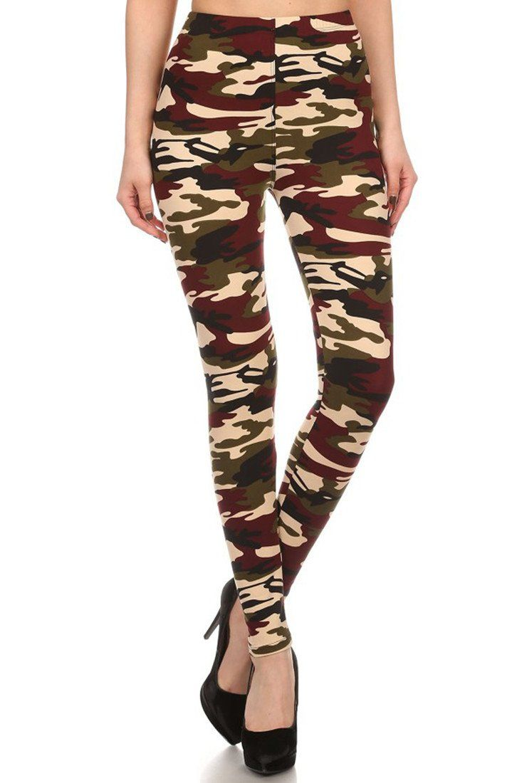 Dark Army Camo Design Leggings leggings- Niobe Clothing