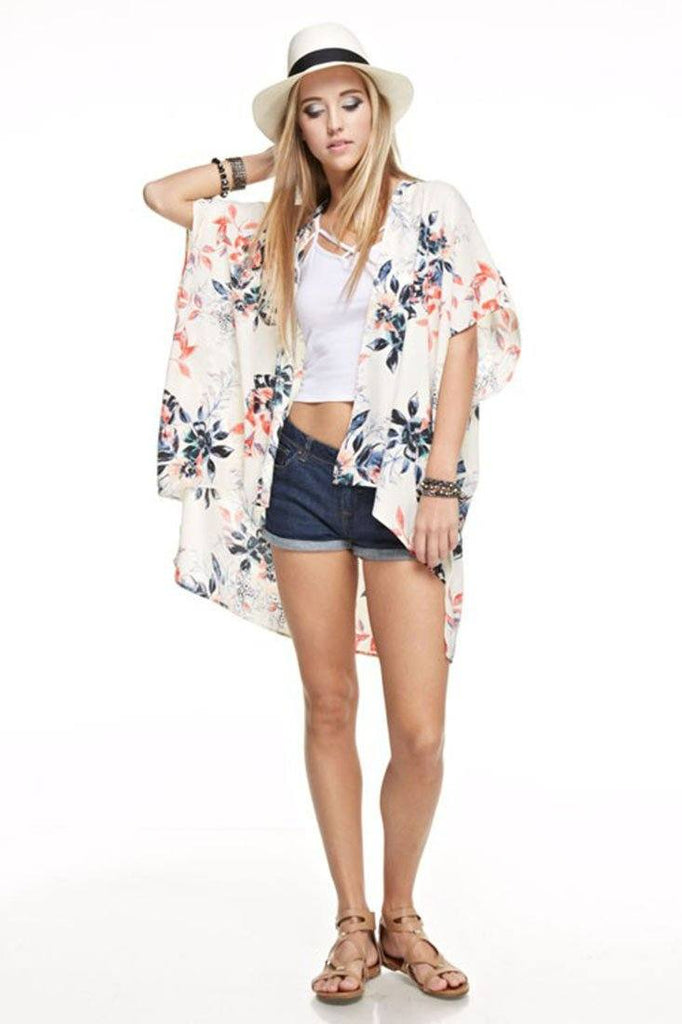 Botanical Patterned Kimono Cardigan Cover Up