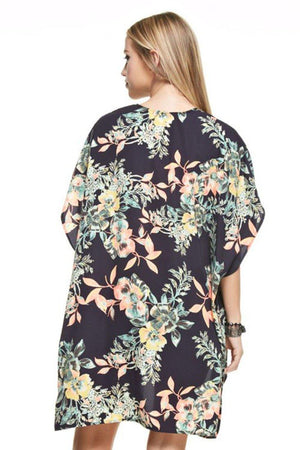 Botanical Patterned Kimono Cardigan Cover Up Cardigans- Niobe Clothing