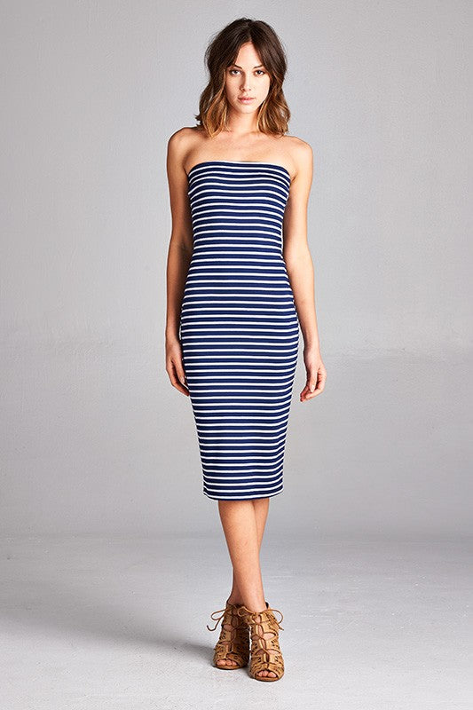 Navy Striped Strapless Bodycon Mini Tube Dress dress- Niobe Clothing