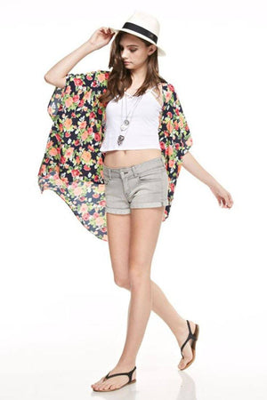 Wild Rose Kimono Cardigan Cover Up Cardigans- Niobe Clothing