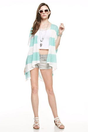 Striped Kimono Cardigan Cover Up