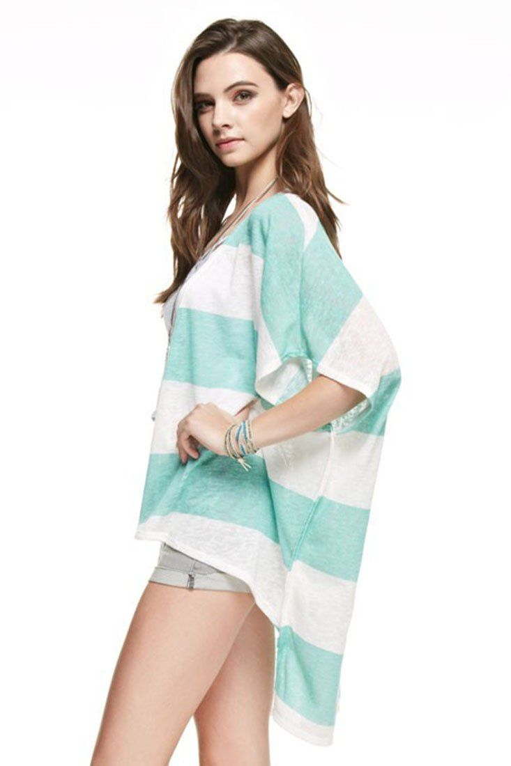 Striped Kimono Cardigan Cover Up Cardigans- Niobe Clothing