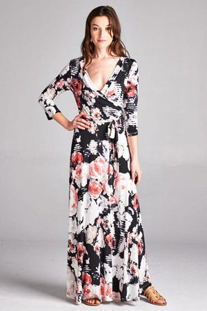 3/4 Sleeve Black Floral Abstract Multicolor Maxi Dress-dress-Niobe Clothing