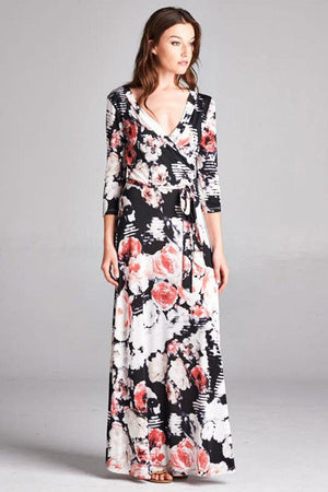 3/4 Sleeve Black Floral Abstract Multicolor Maxi Dress