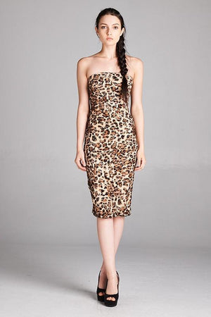 Cheetah Print Strapless Bodycon Mini Tube Dress dress- Niobe Clothing