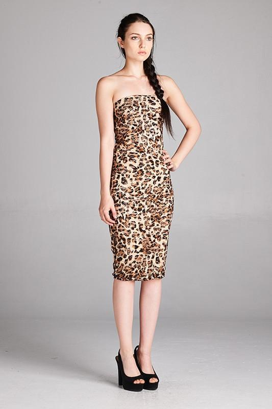 10449e46bde0 Cheetah Print Strapless Bodycon Mini Tube Dress dress- Niobe Clothing