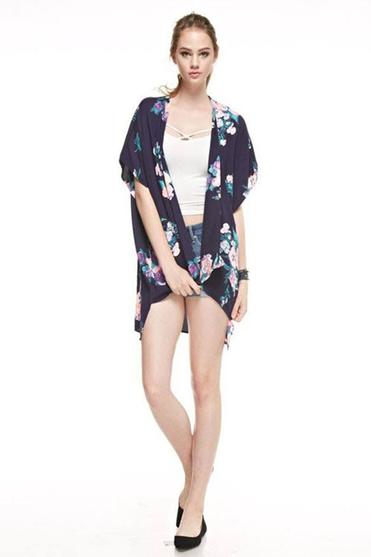 Navy Floral Bouquet Kimono Cardigan Cover Up Cardigans- Niobe Clothing