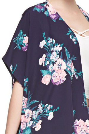 Navy Floral Bouquet Kimono Cardigan Cover Up