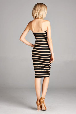 Black/Taupe Stripes Strapless Bodycon Mini Tube Dress dress- Niobe Clothing