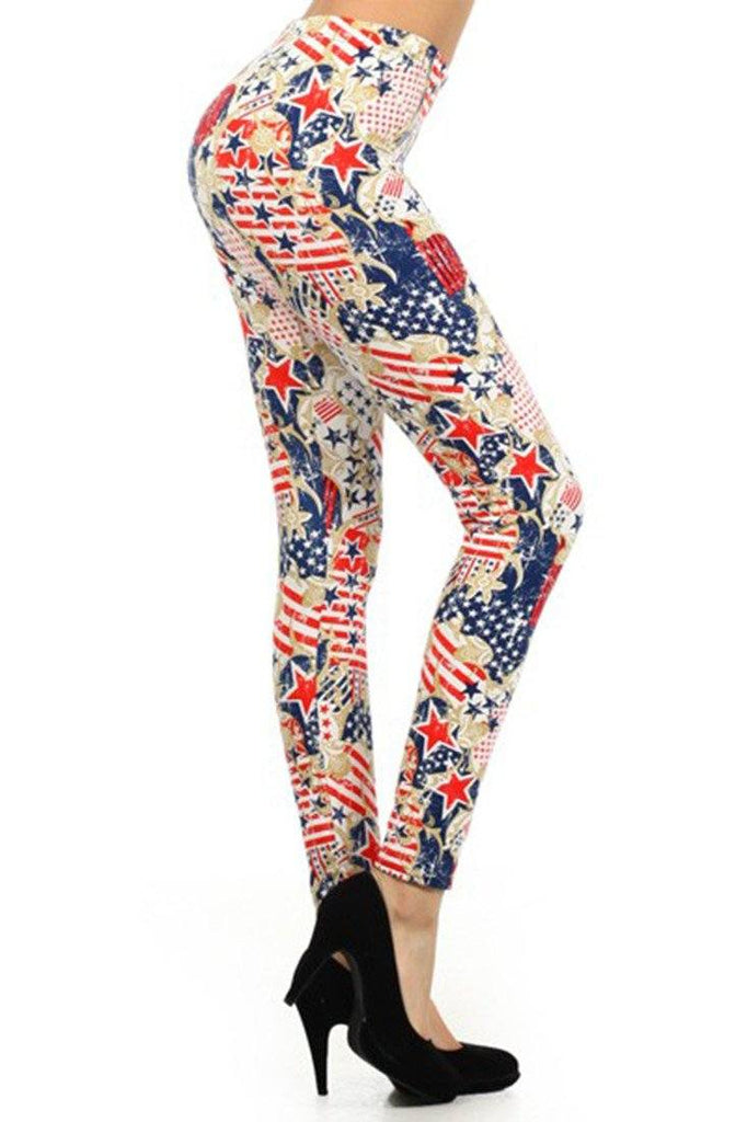 Red, White & Blue Graphic Print Lined Leggings