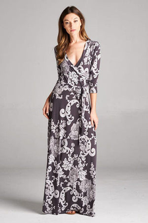 3/4 Sleeve Dark Grey Damask Bohemian Maxi Dress dress- Niobe Clothing