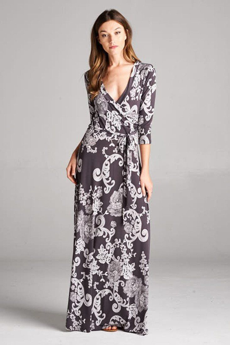 3/4 Sleeve Dark Grey Damask Bohemian Maxi Dress