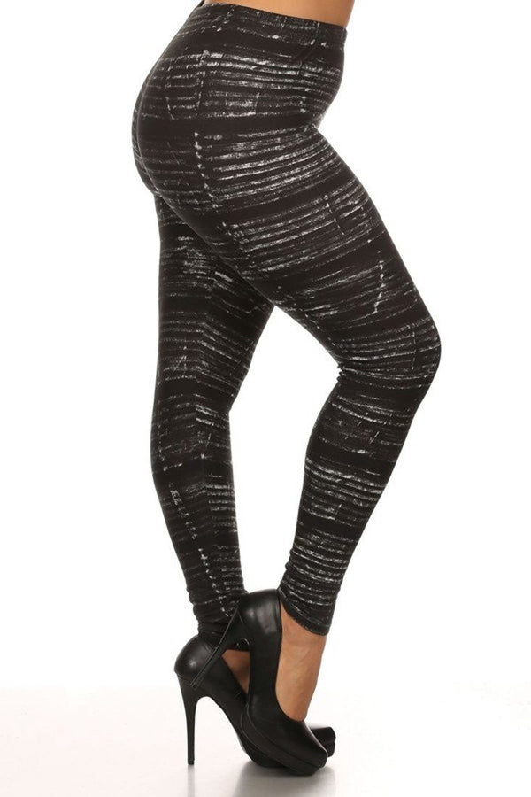 Distressed Chalk Design Plus Size Leggings leggings- Niobe Clothing