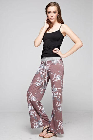 Burgundy Floral Casual Lounge Pants