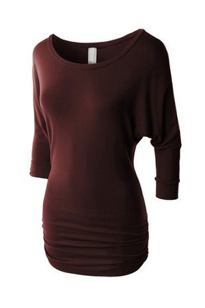 3/4 Sleeve Dolman Top with Side Shirring Tunics- Niobe Clothing