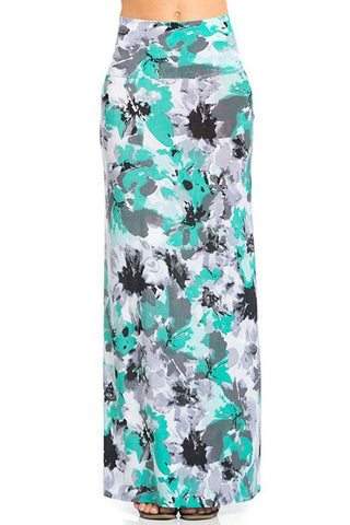 Mint Floral Printed Maxi Skirt