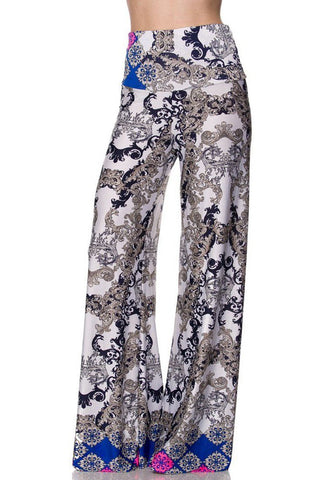 High Waist Fold Over Wide Leg Gaucho Palazzo Pants (White Icebreak)