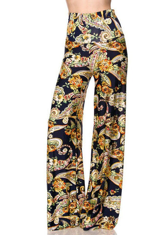 High Waist Fold Over Wide Leg Gaucho Palazzo Pants (Navy Golden Paisley)