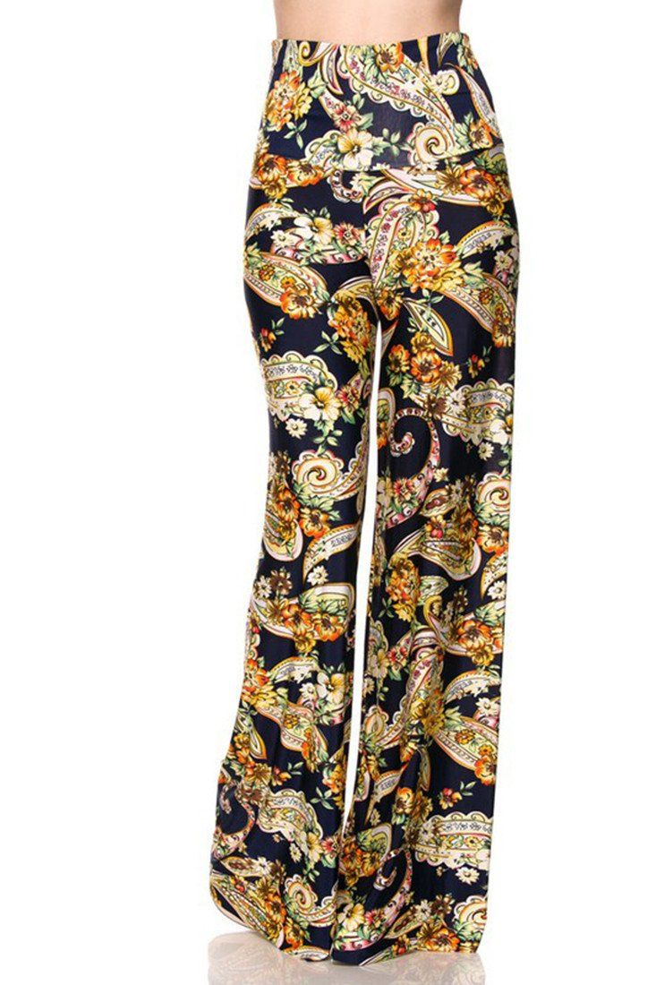 High Waist Fold Over Wide Leg Palazzo Pants (Navy Golden Paisley)-pants-Niobe Clothing