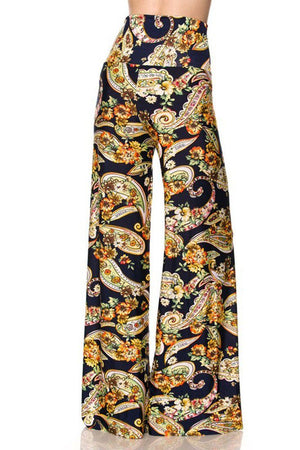 High Waist Fold Over Wide Leg Palazzo Pants (Navy Golden Paisley) pants- Niobe Clothing