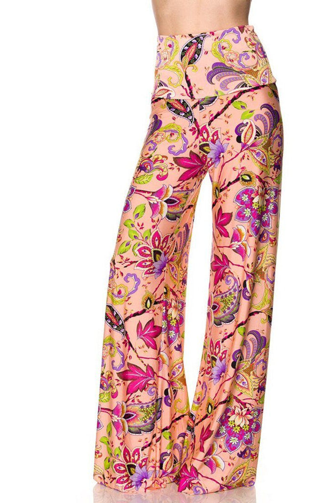 High Waist Fold Over Wide Leg Gaucho Palazzo Pants (Peach Me Blossom)