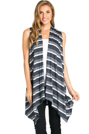 Sleeveless Asymmetric Hem Open Front Cardigan in Grey Mix