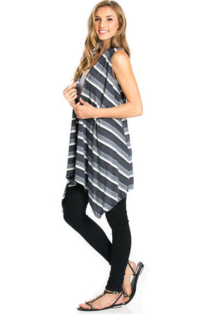 Sleeveless Asymmetric Hem Open Front Cardigan in Grey Mix-Cardigans-Niobe Clothing