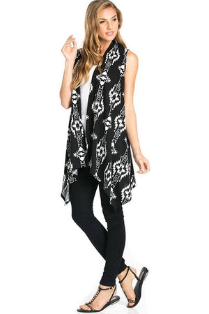 Patterned Sleeveless Asymmetric Hem Open Front Cardigan (Black Tribal Aztec)-Cardigans-Niobe Clothing