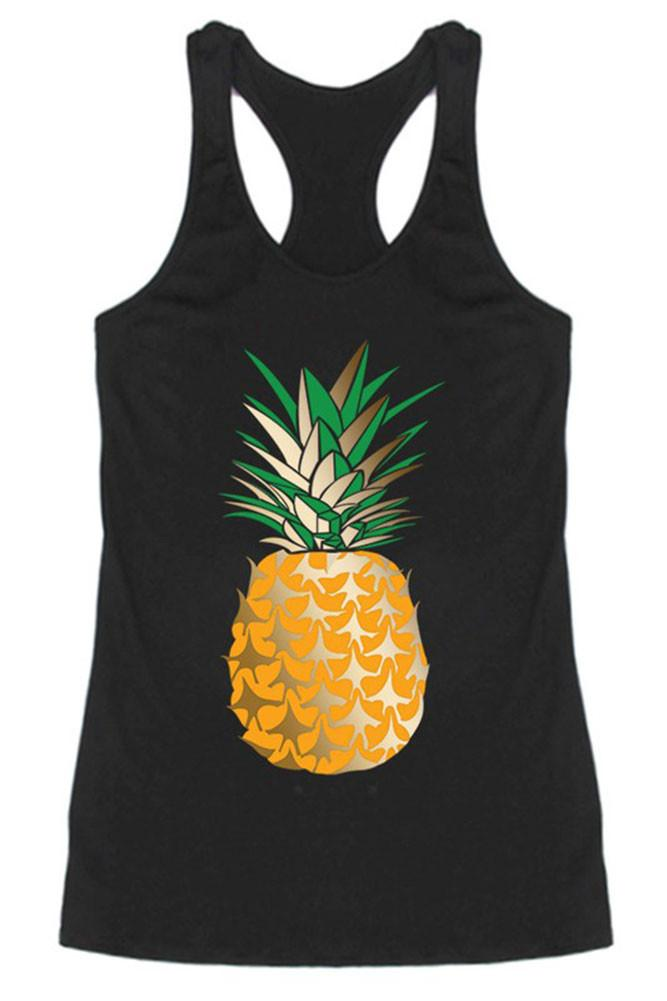 Gold Pineapple Racerback Tank Top (Black)