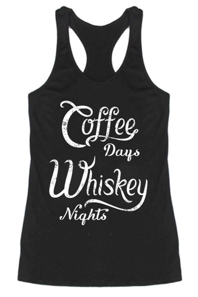 Coffee & Whiskey Racerback Tank Top Tops- Niobe Clothing