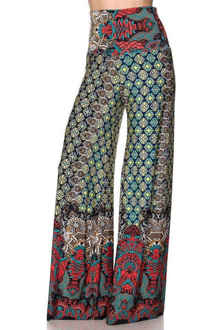 High Waist Fold Over Wide Leg Gaucho Palazzo Pants (Red Jewel Toned)