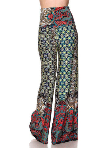 High Waist Fold Over Wide Leg Gaucho Palazzo Pants (Emerald)