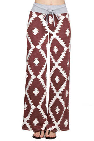 Aztec Print Casual Lounge Pants in Burgundy