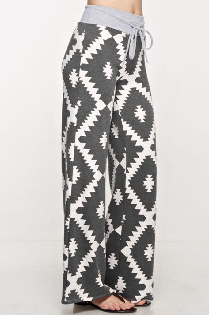 Aztec Print Casual Lounge Pants in Charcoal
