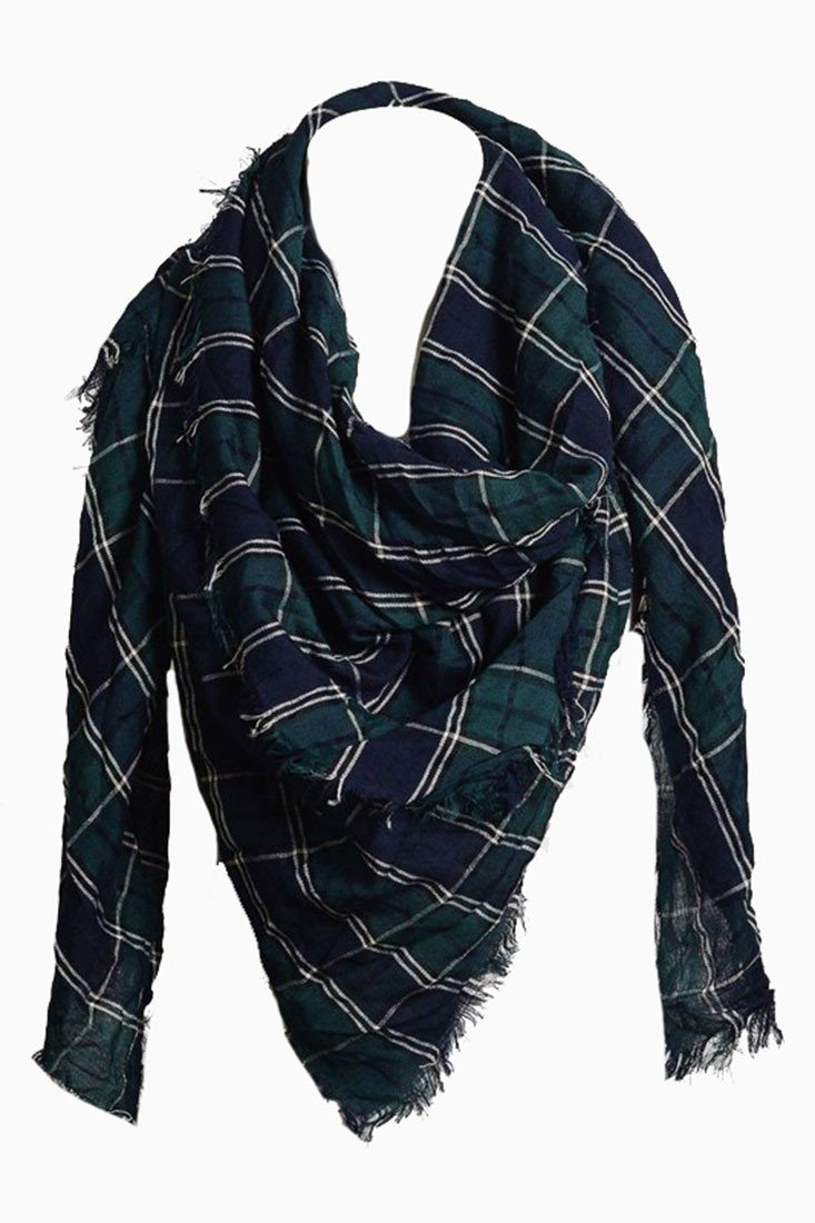 Green/Navy Plaid Oversized Blanket Scarf Scarves- Niobe Clothing