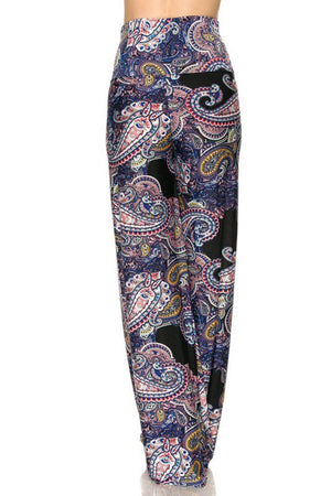 High Waist Fold Over Wide Leg Gaucho Palazzo Pants (Navy Elegant Paisley) pants- Niobe Clothing