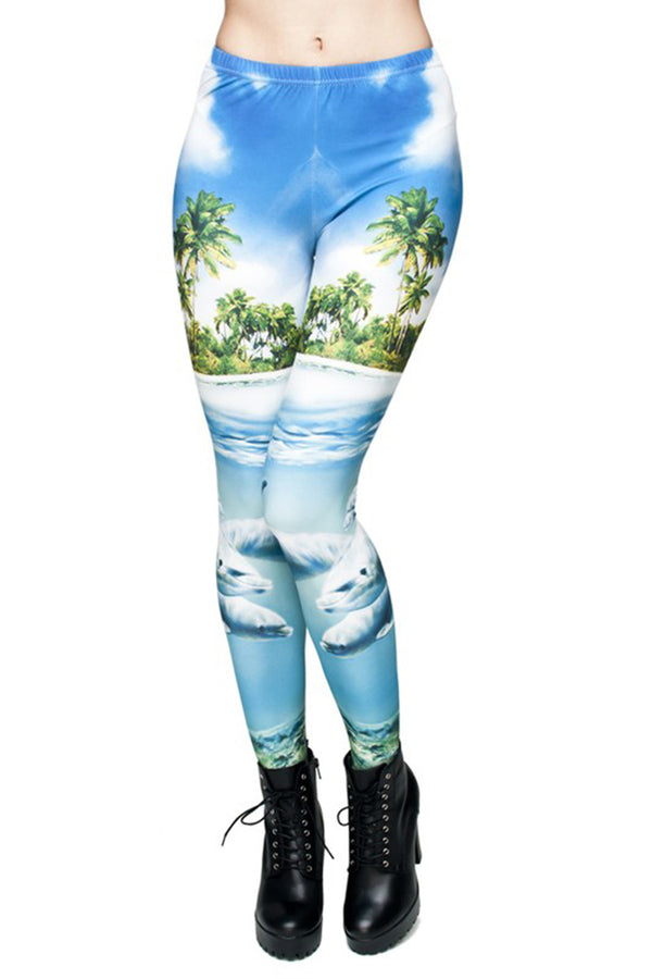 Island Dolphins Digital Print Leggings leggings- Niobe Clothing