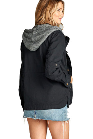 Terry Hood Layered Utility Jacket