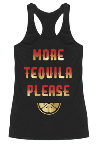 More Tequila Racerback Tank Top (Black)