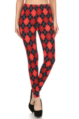 Navy Red Argyle Design Leggings leggings- Niobe Clothing