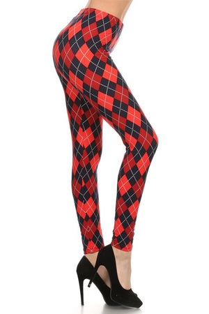 Navy Red Argyle Design Leggings