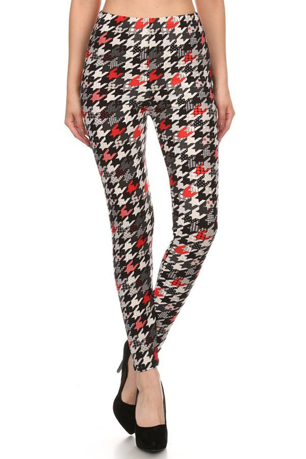 Multi Houndstooth Design Leggings leggings- Niobe Clothing