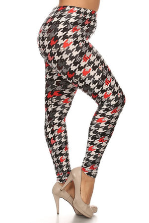 Multi Houndstooth Design Leggings-leggings-Niobe Clothing