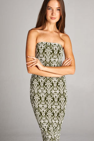 Green Baroque Strapless Bodycon Mini Tube Dress dress- Niobe Clothing