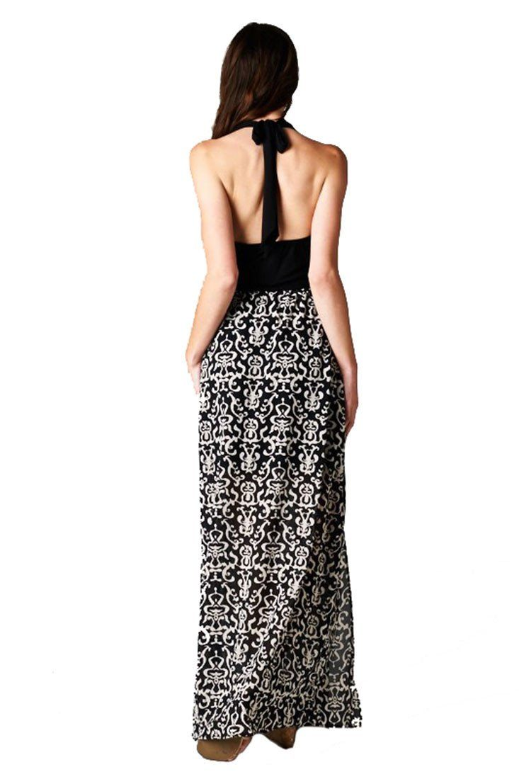 Halter Top Baroque Damask Print Black White Maxi Dress w/ Side Slit dress- Niobe Clothing