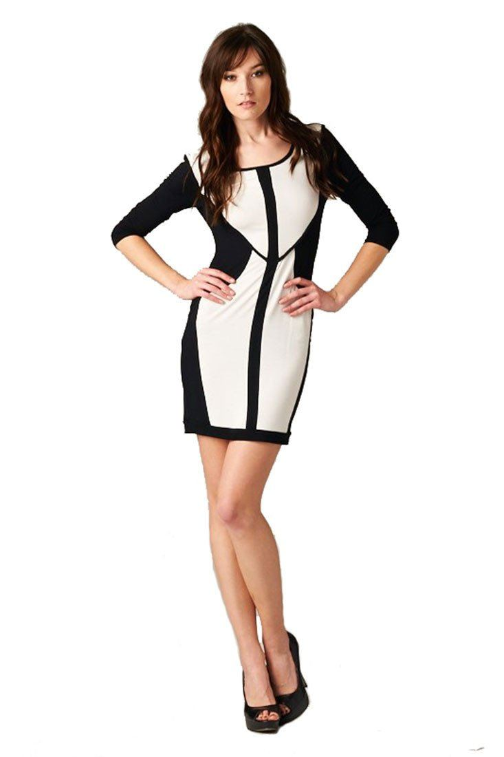 Women's Black and White Bodycon Color Block Short Mini Dress dress- Niobe Clothing